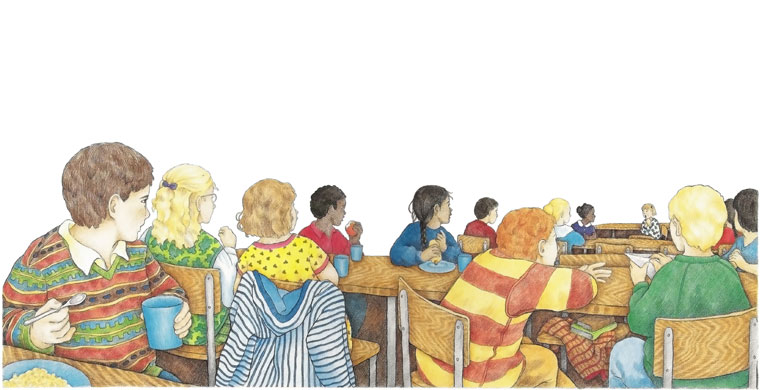 George in the cafeteria - illustration from The Watcher
