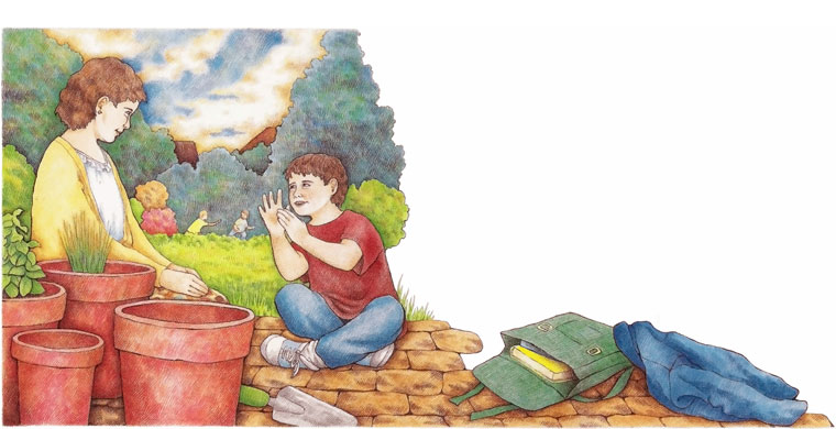George talking to his mother - illustration from The Watcher