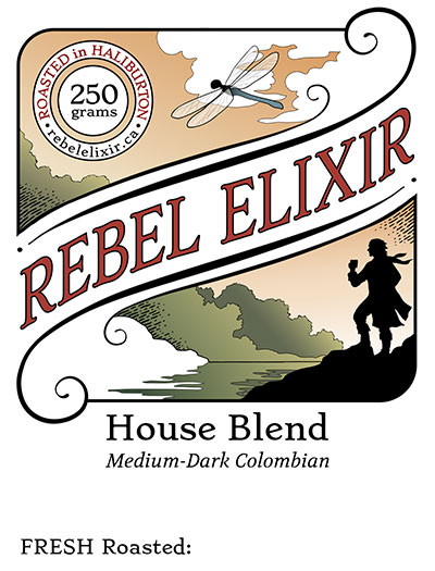 Rebel Elixir House Blend coffee label