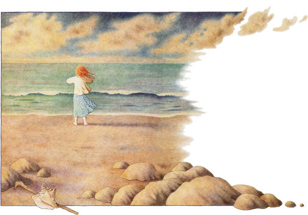 girl standing on a beach - illustration from Winning the Girl of the Sea